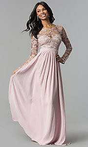 Lace-Bodice Long-Sleeve Corset-Back Prom Dress Style: LP-25065 Detail Image 2