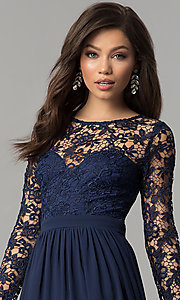 Lace-Bodice Long-Sleeve Corset-Back Prom Dress Style: LP-25065 Detail Image 1