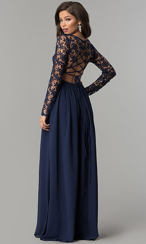 Lace-Bodice Long-Sleeve Corset-Back Prom Dress Style: LP-25065 Back Image