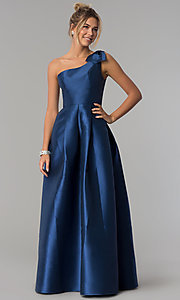 Image of navy blue satin one-shoulder prom dress with bow. Style: LP-25152 Front Image