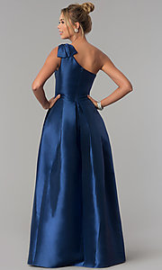 Image of navy blue satin one-shoulder prom dress with bow. Style: LP-25152 Back Image