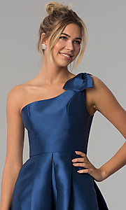 Image of navy blue satin one-shoulder prom dress with bow. Style: LP-25152 Detail Image 1