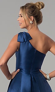 Image of navy blue satin one-shoulder prom dress with bow. Style: LP-25152 Detail Image 2