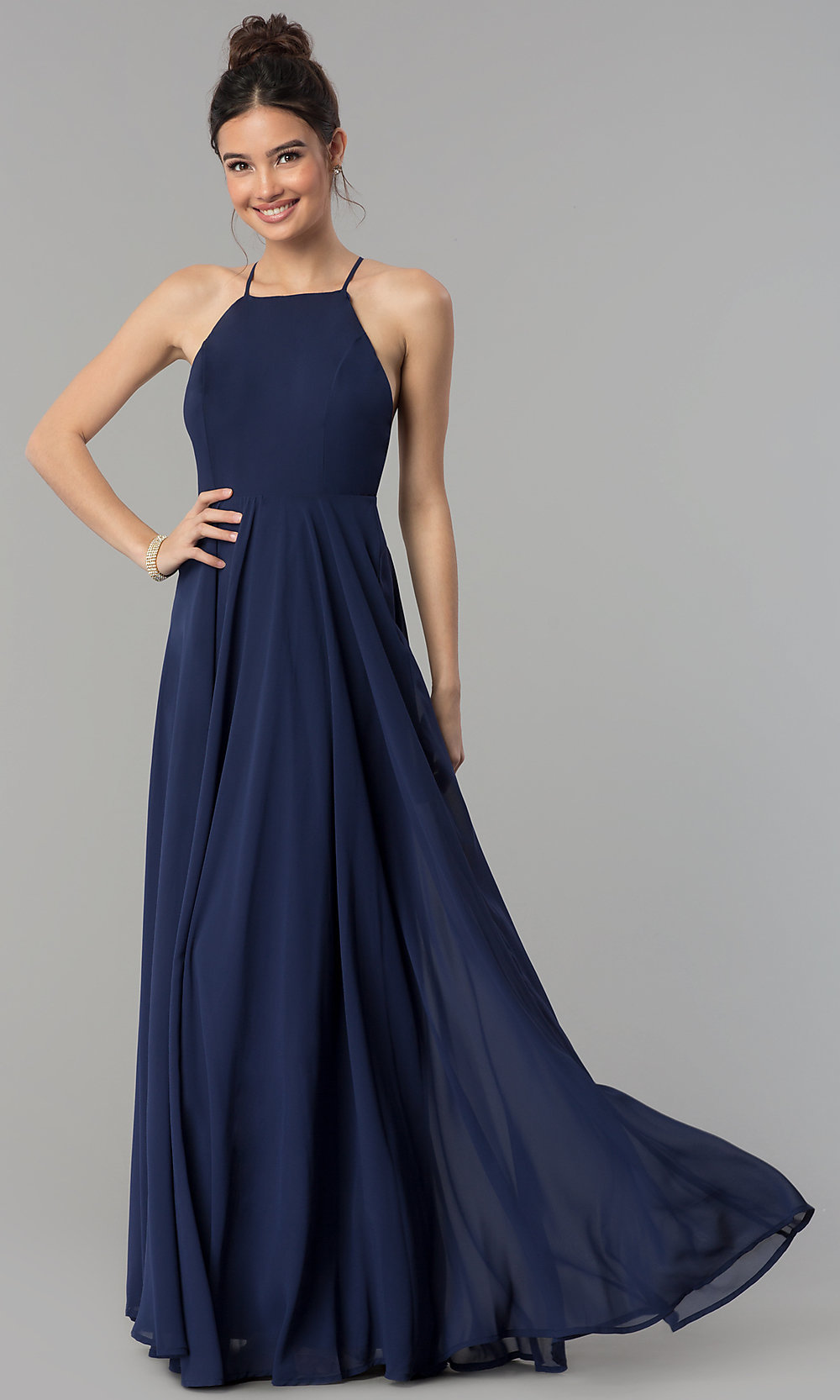 Open Back Formal A Line Chiffon Prom Dress Promgirl