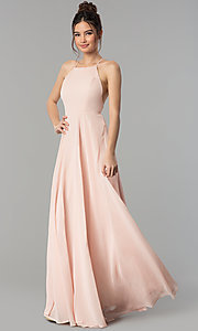 Image of open-back high-neck a-line chiffon long prom dress. Style: LP-27409 Detail Image 3