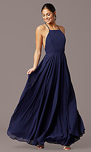 Image of open-back high-neck a-line chiffon long prom dress. Style: LP-27409 Front Image