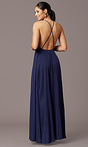 Image of open-back high-neck a-line chiffon long prom dress. Style: LP-27409 Back Image