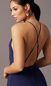Image of open-back high-neck a-line chiffon long prom dress. Style: LP-27409 Detail Image 1