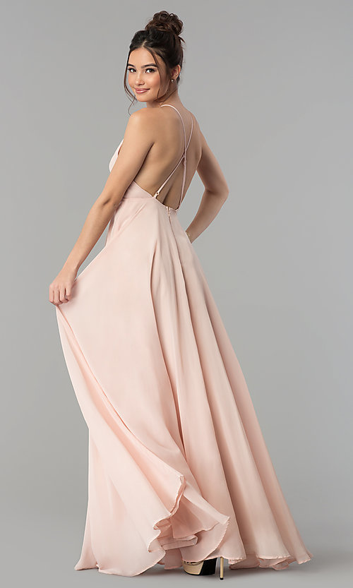 Image of open-back high-neck a-line chiffon long prom dress. Style: LP-27409 Detail Image 4