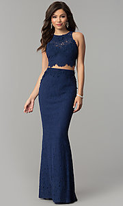 Navy Blue Lace Two-Piece Long Mermaid Prom Dress