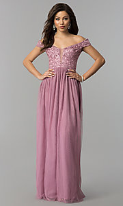 Long Embroidered-Bodice Off-the-Shoulder Prom Dress
