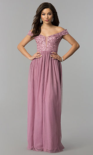 746c4cb64a Long Embroidered-Bodice Off-the-Shoulder Prom Dress