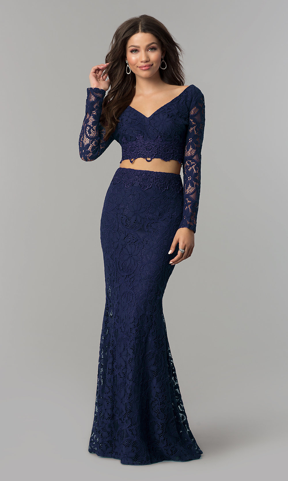 V-Neck Sleeved Two-Piece Long Prom Dress - PromGirl
