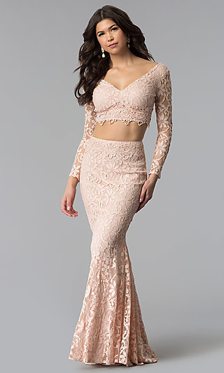 Sleeved V-Neck Long Two-Piece Lace Prom Dress