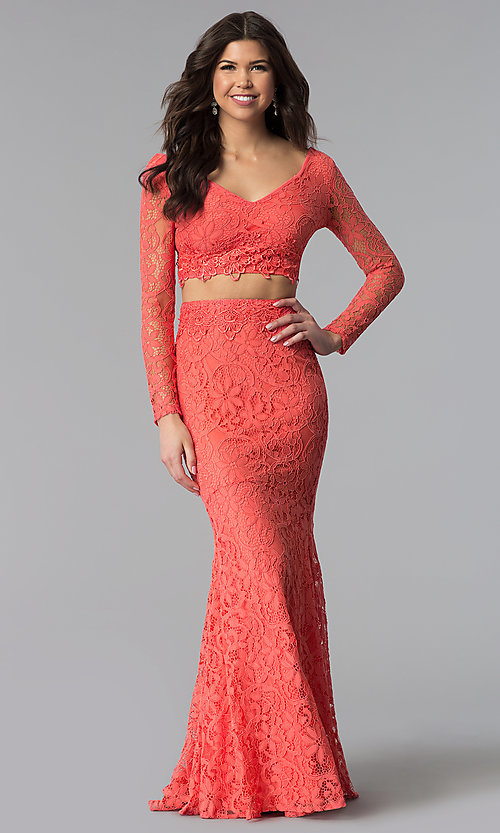 Image of sleeved v-neck long two-piece lace prom dress. Style: LP-90044 Detail Image 2