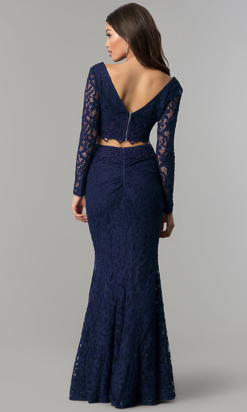Image of sleeved v-neck long two-piece lace prom dress. Style: LP-90044 Back Image
