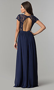 Image of long open-back chiffon prom dress with cap sleeves. Style: LP-25067 Back Image