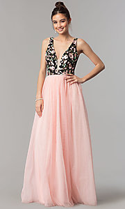 Image of v-neck embroidered-bodice long pink tulle prom dress. Style: LP-27183 Front Image