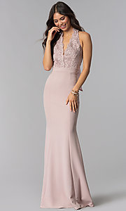 Image of long halter prom dress with lace and smocked bodice. Style: LP-24993 Detail Image 3