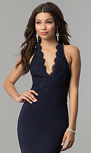 Image of long halter prom dress with lace and smocked bodice. Style: LP-24993 Detail Image 1