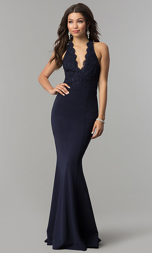 Image of long halter prom dress with lace and smocked bodice. Style: LP-24993 Front Image
