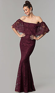 Image of long burgundy lace mermaid off-shoulder prom dress.  Style: LP-27524 Front Image