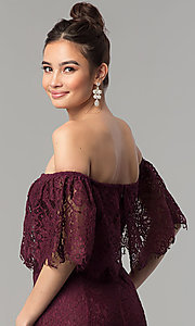 Image of long burgundy lace mermaid off-shoulder prom dress.  Style: LP-27524 Detail Image 2