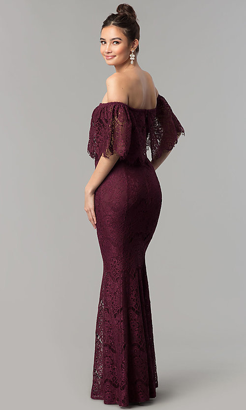 d23e5f562f77 Image of long burgundy lace mermaid off-shoulder prom dress. Style  LP-
