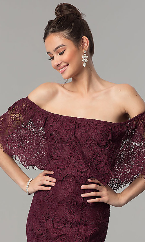Image of long burgundy lace mermaid off-shoulder prom dress.  Style: LP-27524 Detail Image 1
