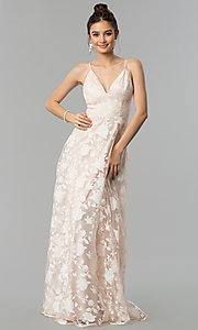 Image of print organza long v-neck prom dress in blush pink. Style: LP-27509 Detail Image 2