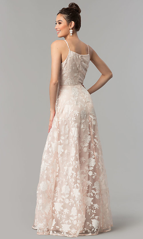 Image of print organza long v-neck prom dress in blush pink. Style: LP-27509 Back Image
