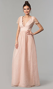 Image of long short-sleeve blush pink prom dress with glitter. Style: LP-27521 Front Image