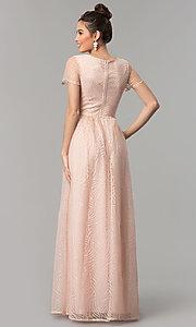 Image of long short-sleeve blush pink prom dress with glitter. Style: LP-27521 Back Image