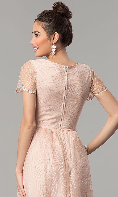 Image of long short-sleeve blush pink prom dress with glitter. Style: LP-27521 Detail Image 2