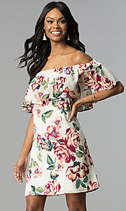Image of cream off-the-shoulder floral-print shift dress. Style: EM-FBZ-3563-130 Front Image