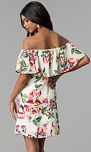 Image of cream off-the-shoulder floral-print shift dress. Style: EM-FBZ-3563-130 Back Image