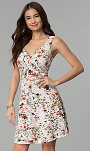 Image of short floral-print v-neck graduation party dress. Style: EM-ENE-3663-693 Front Image