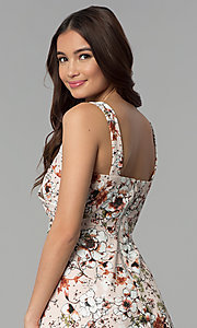 Image of short floral-print v-neck graduation party dress. Style: EM-ENE-3663-693 Detail Image 2