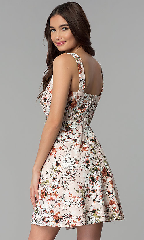Image of short floral-print v-neck graduation party dress. Style: EM-ENE-3663-693 Back Image
