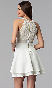 Image of short ivory illusion fit-and-flare party dress. Style: EM-FLD-1000-120 Back Image