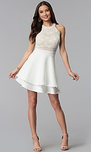 Image of short ivory illusion fit-and-flare party dress. Style: EM-FLD-1000-120 Detail Image 3