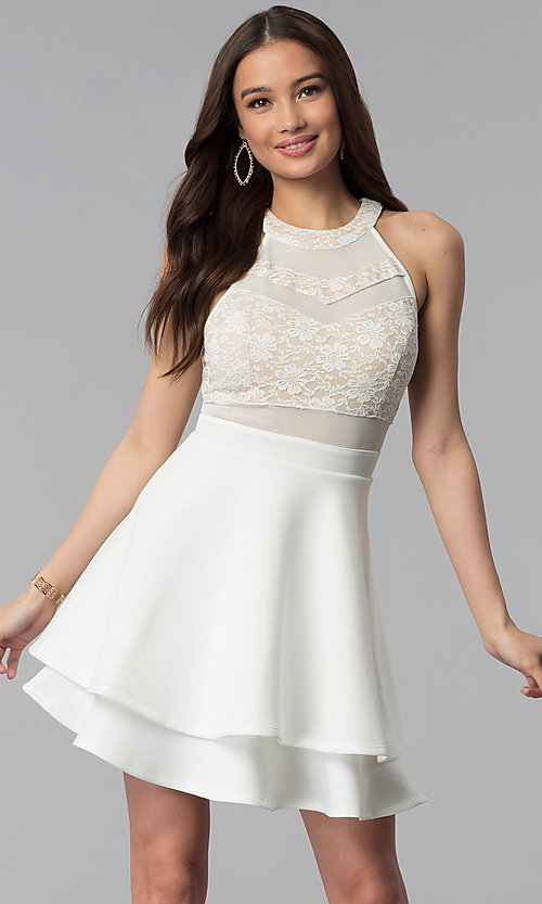 Image of short ivory illusion fit-and-flare party dress. Style: EM-FLD-1000-120 Front Image