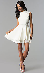 Image of short high-neck ivory white semi-formal party dress. Style: EM-FHD-1027-120 Detail Image 3
