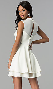 Image of short high-neck ivory white semi-formal party dress. Style: EM-FHD-1027-120 Back Image