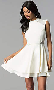 Image of short high-neck ivory white semi-formal party dress. Style: EM-FHD-1027-120 Front Image