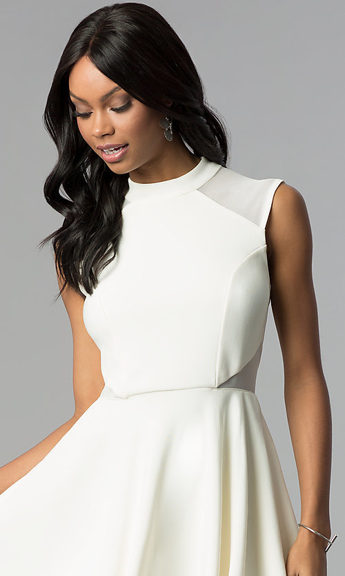 Image of short high-neck ivory white semi-formal party dress. Style: EM-FHD-1027-120 Detail Image 1