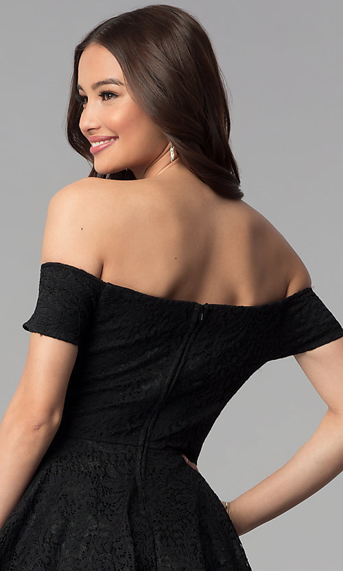 Image of black off-the-shoulder short lace party dress. Style: EM-FTB-2934-001 Detail Image 2