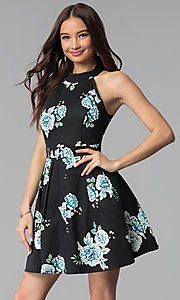 Image of short black high-neck floral-print party dress. Style: EM-FLR-3600-009 Front Image