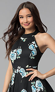 Image of short black high-neck floral-print party dress. Style: EM-FLR-3600-009 Detail Image 1