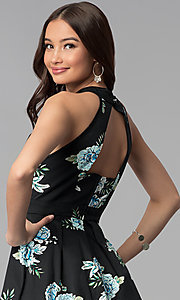 Image of short black high-neck floral-print party dress. Style: EM-FLR-3600-009 Detail Image 2